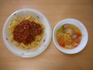 スパゲティーミートソース スープ プリン