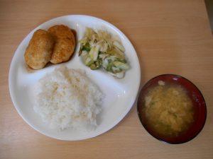 かき玉汁 豆腐ハンバーグ キャベツときゅうりのサラダ ヨーグルト